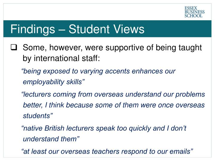 Findings – Student Views