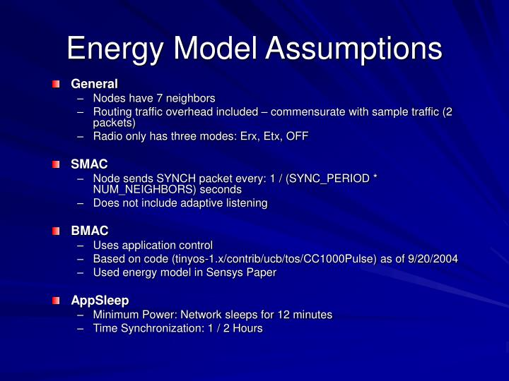 Energy Model Assumptions