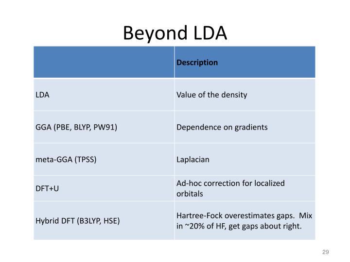 Beyond LDA