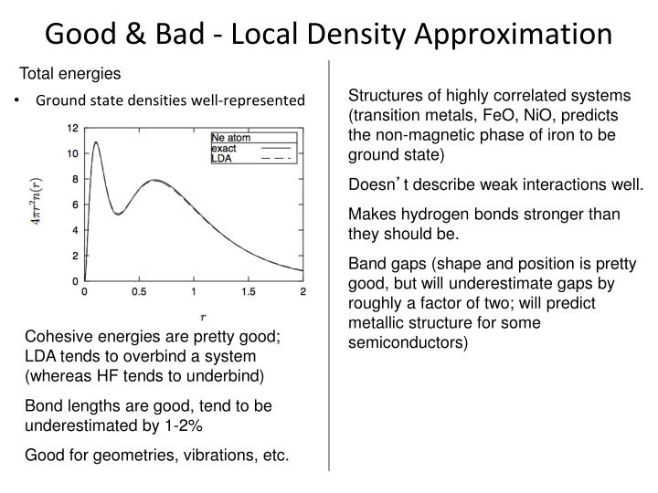 Good & Bad - Local Density Approximation