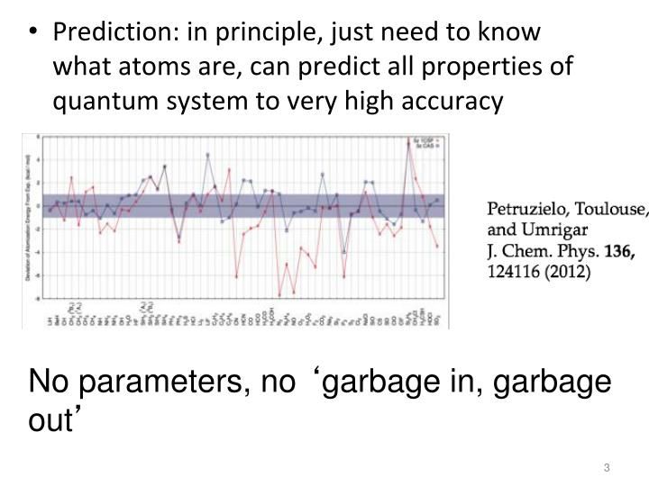 Prediction: in principle, just need to know what atoms are, can predict all properties of quantum system to very high accuracy