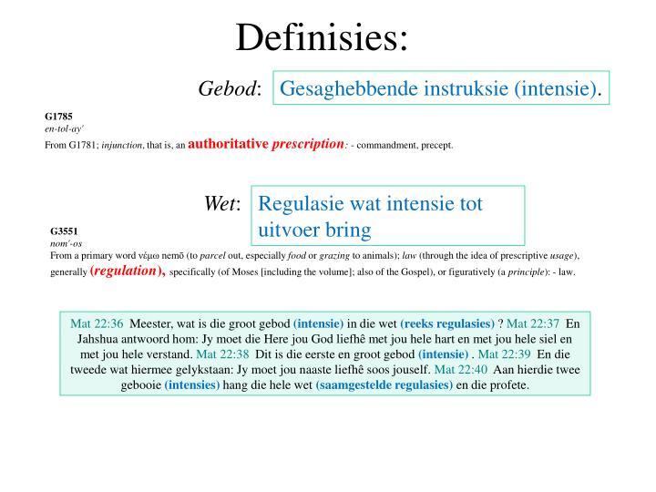 Definisies: