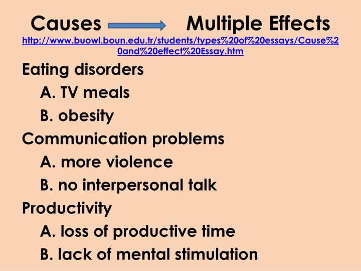 Causes               Multiple Effects