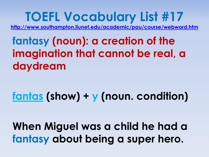 TOEFL Vocabulary List