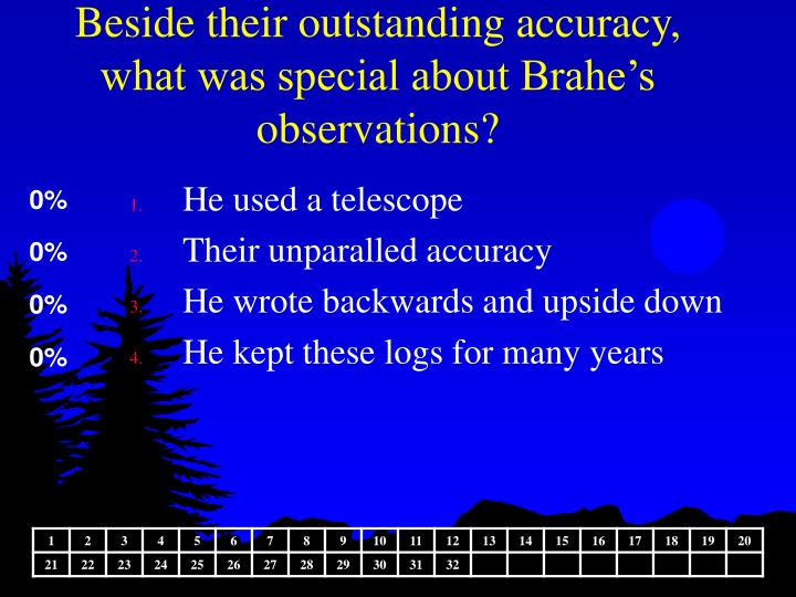 Beside their outstanding accuracy, what was special about Brahe's observations?