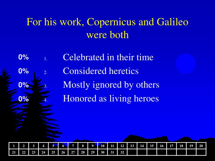 For his work, Copernicus and Galileo were both