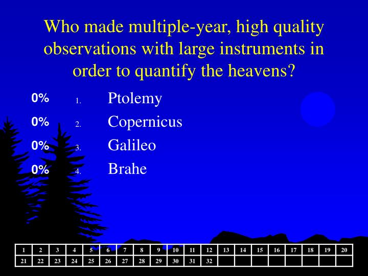 Who made multiple-year, high quality observations with large instruments in order to quantify the heavens?