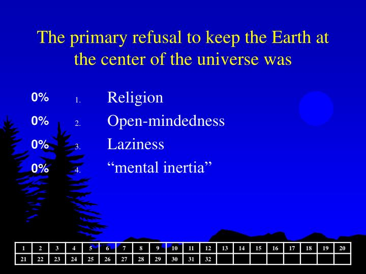 The primary refusal to keep the Earth at the center of the universe was