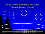 which type of orbit would you expect ceres or vesta to exhibit