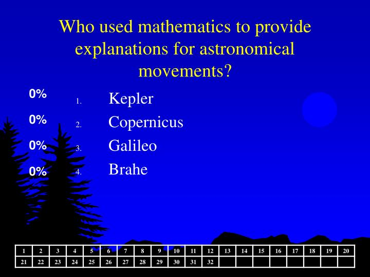 Who used mathematics to provide explanations for astronomical movements?