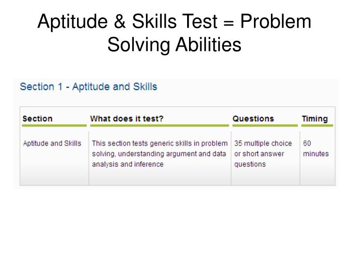 Aptitude & Skills Test = Problem Solving Abilities