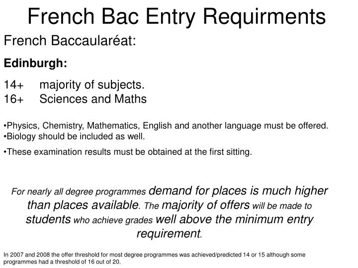 French Bac Entry Requirments