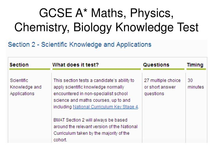 GCSE A* Maths, Physics, Chemistry, Biology Knowledge Test