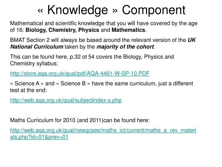 « Knowledge » Component