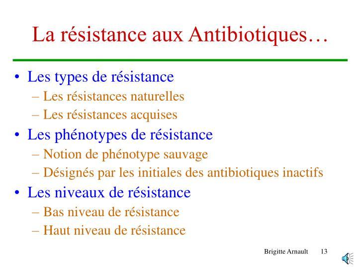 La résistance aux Antibiotiques…