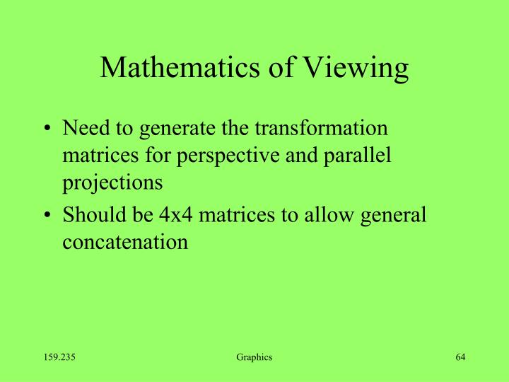 Mathematics of Viewing