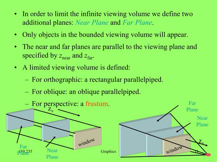 In order to limit the infinite viewing volume we define two additional planes: