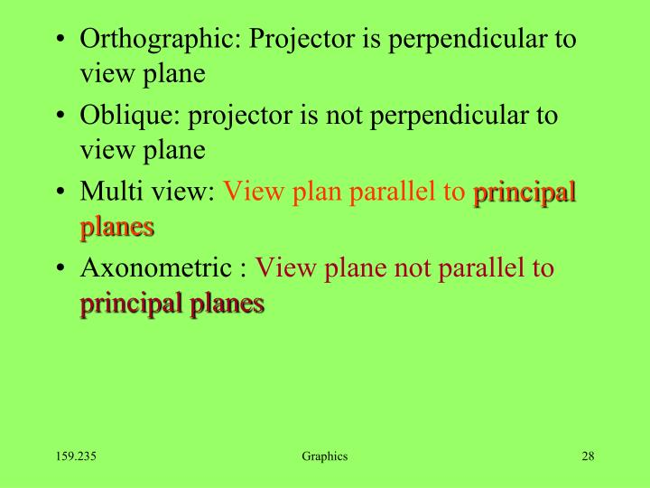 Orthographic: Projector is perpendicular to view plane