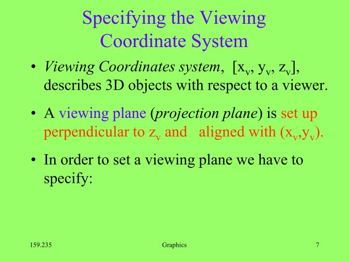 Specifying the Viewing Coordinate System