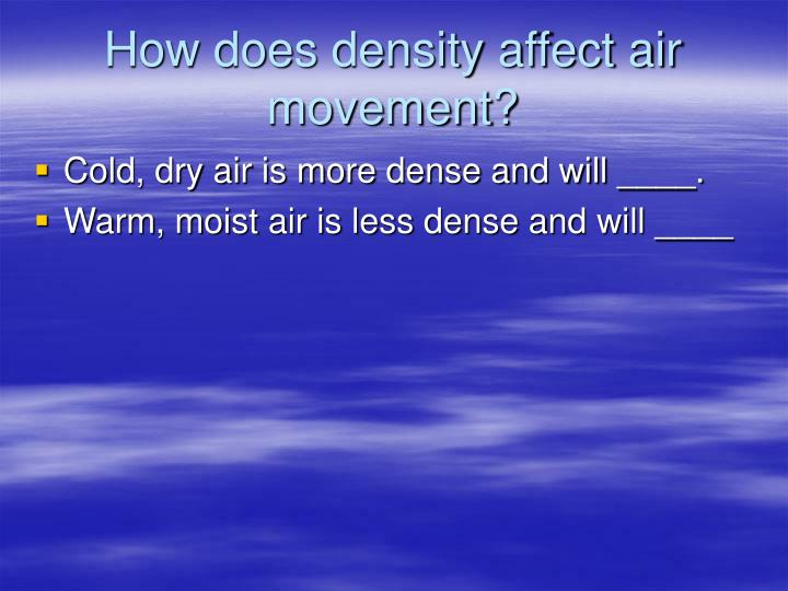 How does density affect air movement?