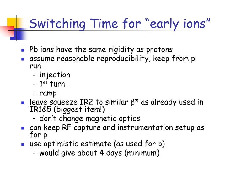 "Switching Time for ""early ions"""