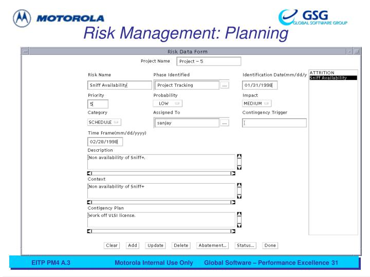 Risk Management: Planning