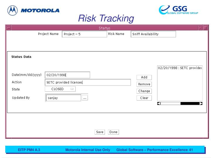 Risk Tracking