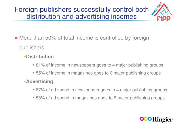 Foreign publishers successfully control both distribution and advertising incomes