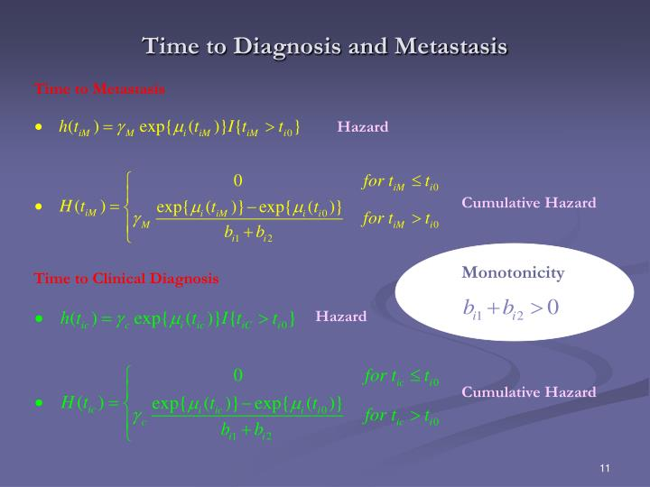Time to Diagnosis and Metastasis