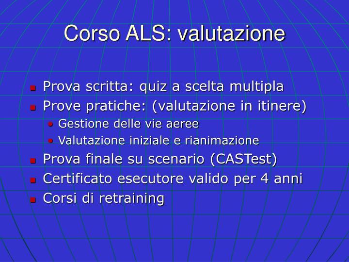 Corso ALS: valutazione