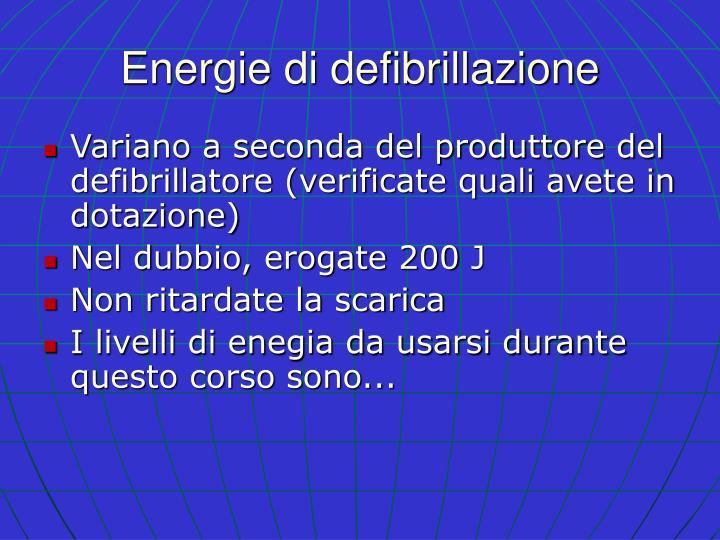 Energie di defibrillazione