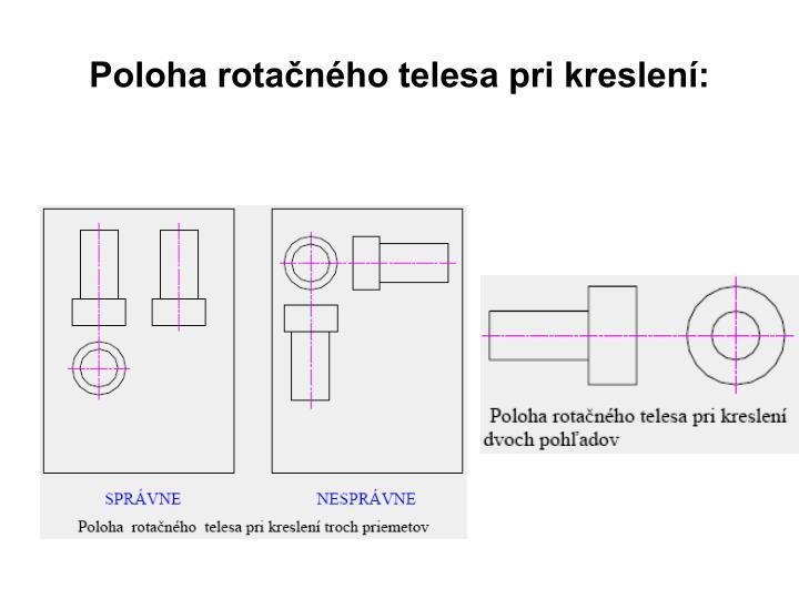 Poloha rotačného telesa pri kreslení: