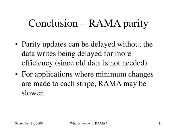 Conclusion – RAMA parity