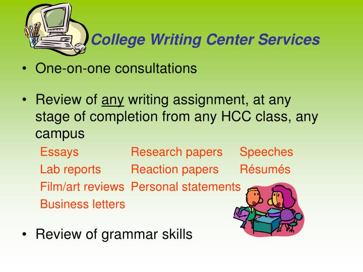 College Writing Center Services