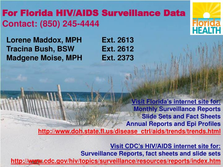 For Florida HIV/AIDS Surveillance Data