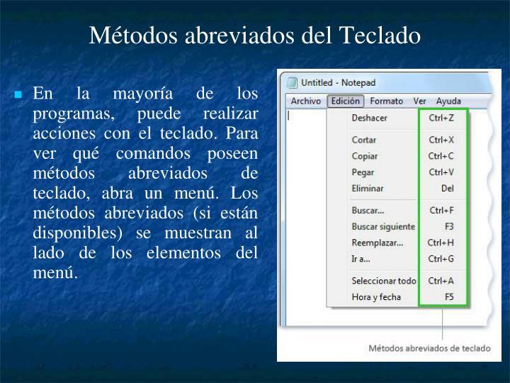 Métodos abreviados del Teclado