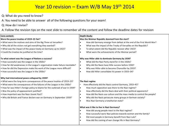Year 10 revision exam w b may 19 th 2014