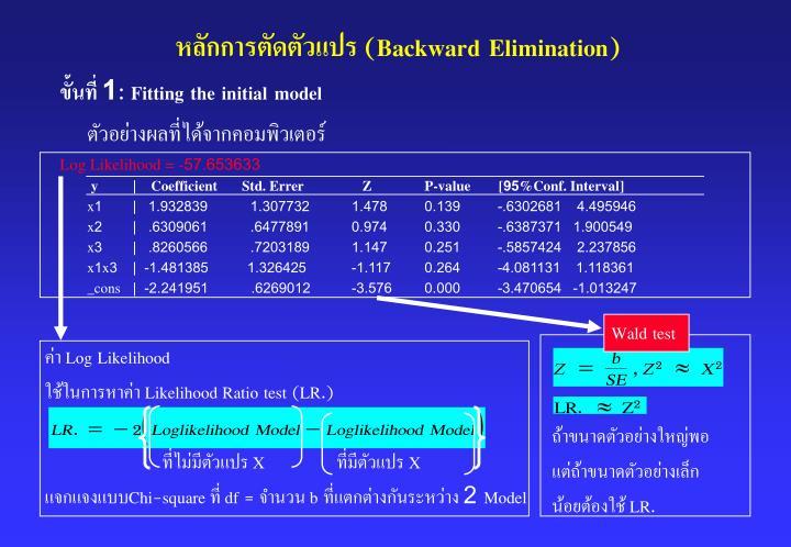หลักการตัดตัวแปร (Backward Elimination)