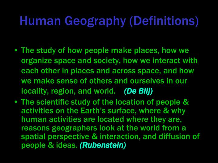 Human Geography (Definitions)