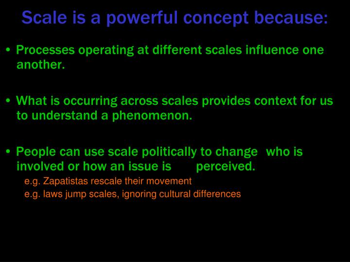 Processes operating at different scales influence one another.