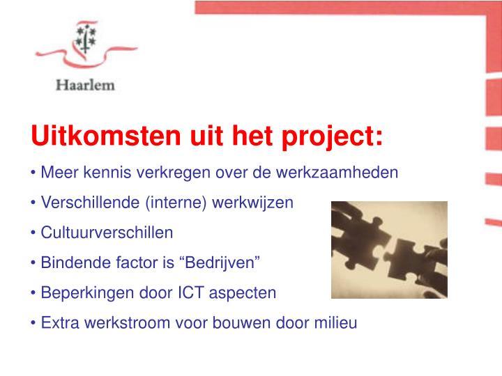 Uitkomsten uit het project: