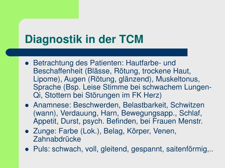 Diagnostik in der TCM