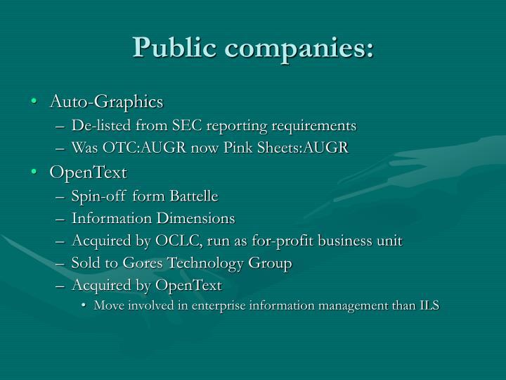 Public companies: