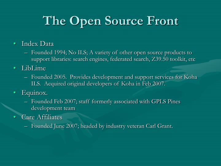 The Open Source Front