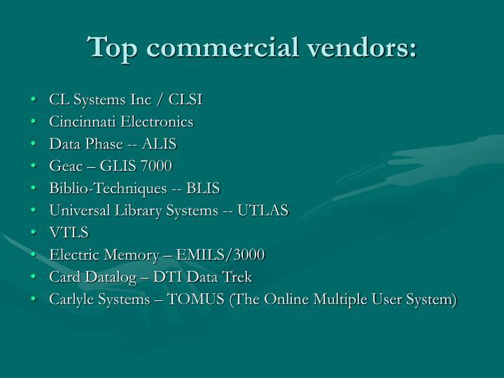 Top commercial vendors: