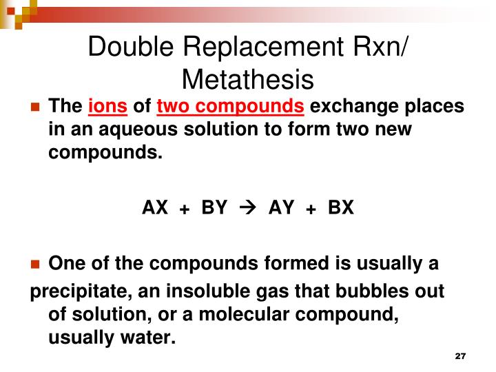 Double Replacement Rxn/ Metathesis