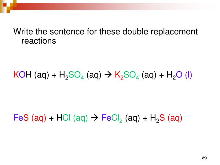Write the sentence for these double replacement reactions