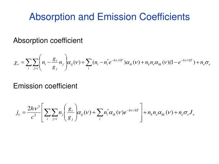 Absorption and Emission Coefficients