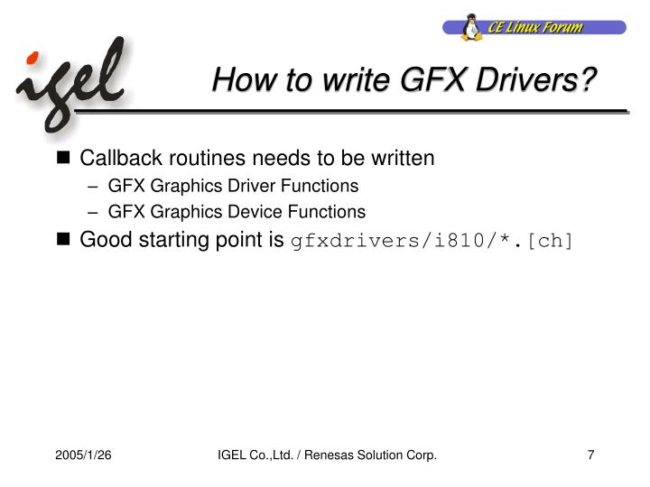 How to write GFX Drivers?