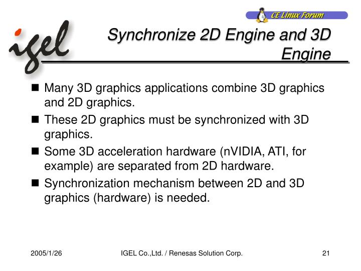 Synchronize 2D Engine and 3D Engine
